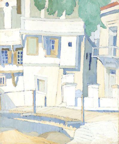 Spyros Papaloukas (Greek, 1892-1957) Houses in Lesvos