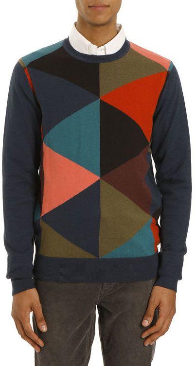 PAUL SMITH JEANS - Pullover mit Rundhalsausschnitt Color Bloc Geometrie