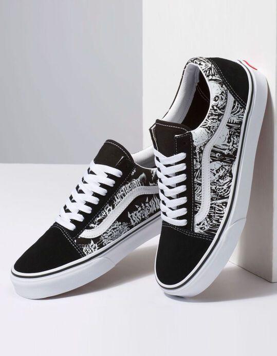 VANS Forgotten Bones Old Skool Mens Shoes - BLKWH - 349718125 ...