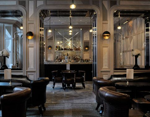 The Connaught Bar, London.  Interior designer - David Collins.  Grey shades are layered with dusty violet, pale green and platinum silver leaf.