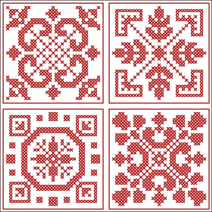 Four smaller squares   Chart for cross stitch or filet crochet.