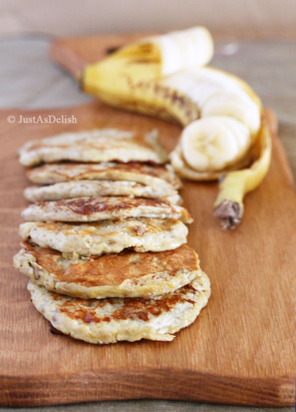 Two Ingredient Banana Pancake by justasdelish: No flour. Just bananas and eggs and just as delicious. #Pancakes #Banana #Paleo #Grain_Free #GF #Whole30 #Healthy