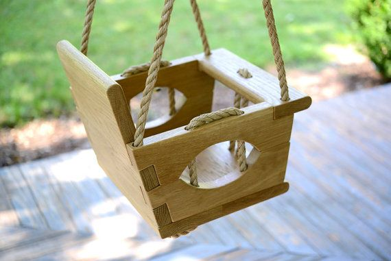 Handmade wood toddler swing by vintageswings kid home for Unique swings for kids