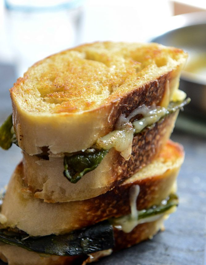 sourdough grilled cheese with roasted poblanos, smoked cheddar and curried brown butter