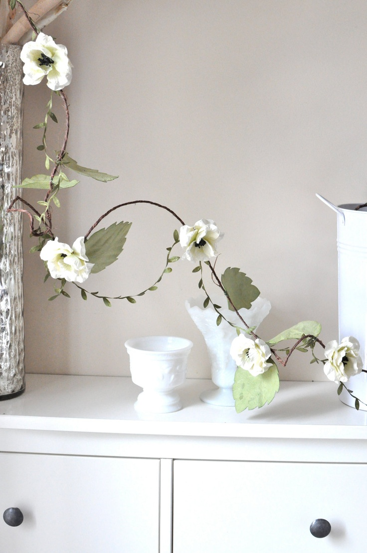 Shabby chic wedding garland paper flower and rustic vine for Shabby chic garland lights