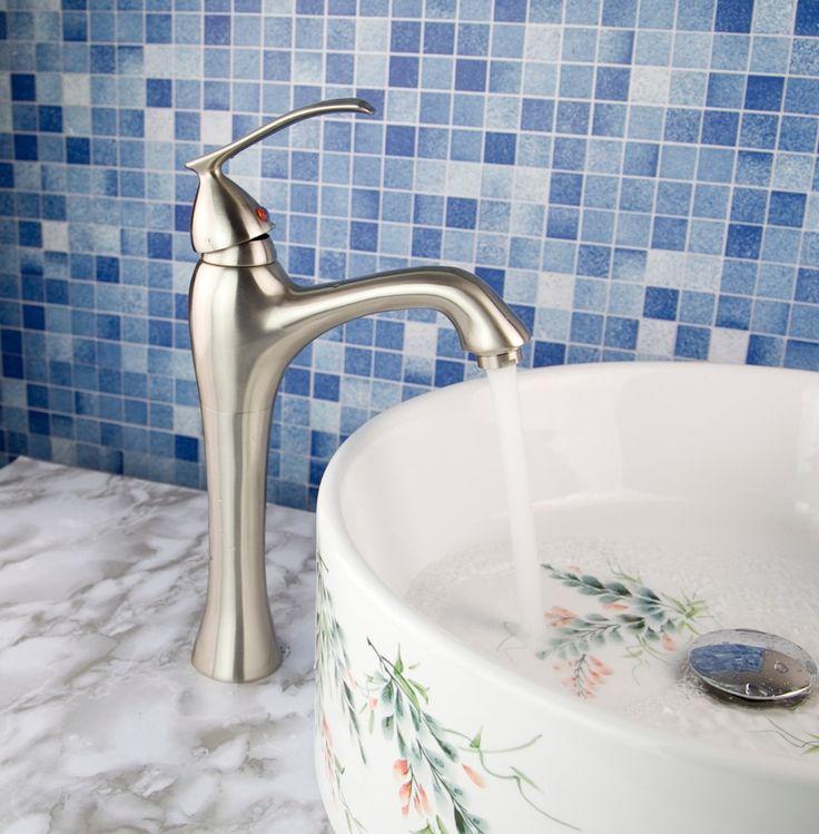 Матовый Никель Высокий Дизайн Ванной Бассейна Смесителя Chrome Ванной Бассейна Кран Судно Смеситель n3