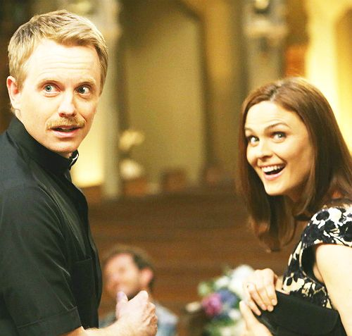 "David Hornsby, Emily Deschanel's real-life husband, played a priest at Brennan/Booth's wedding rehearsal. Emily stated: ""I have two major Davids (David Boreanaz and David Hornsby) in my life, and I married both of them."""