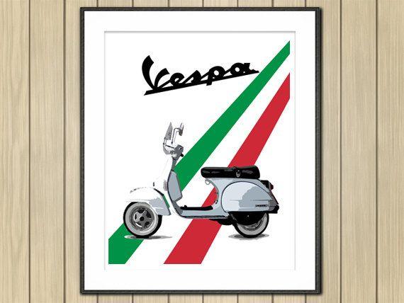 """Retro Vespa Scooter Art, Motorcycle Art, Garage Art, Vespa Art, Classic Scooter Art, Instant Download, Vintage Vespa, Motorcycle Art, 8x10"""""""