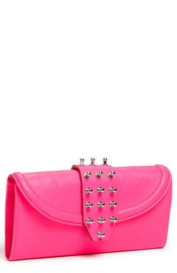 mcq alexander mcqueen collar stud wallet in bright pink