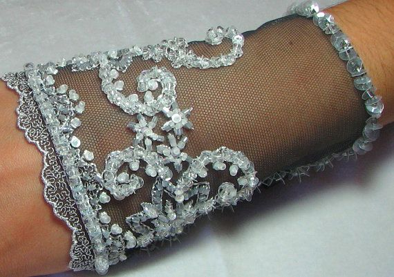 OOAK Hand Beaded Lace Cuff in Grey & White