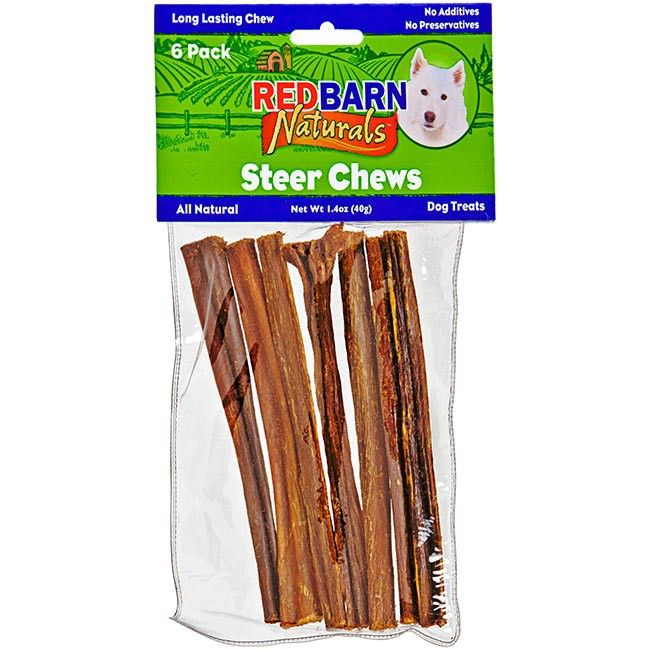 "Redbarn's 5"" Steer Bully Sticks for dogs are thinner than the standard straight bully sticks, making them perfect for smaller dogs or for pups who want a quick snack. Just like the rest of Redbarn's bully sticks, these skinny bully sticks are made of 100% natural beef without any sort of additives or hormones to assure the highest quality and tastiest natural dog treats you'll ever find. Their 5-inch size makes them perfect for petite pups. Delicious, real, honest beef ... that's what you…"