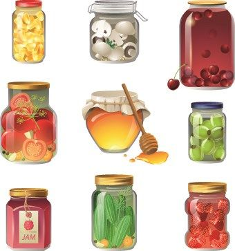 Different Food objects icons vector 03