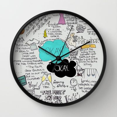 The Fault in Our Stars- John Green Wall Clock by Natasha Ramon - $30.00