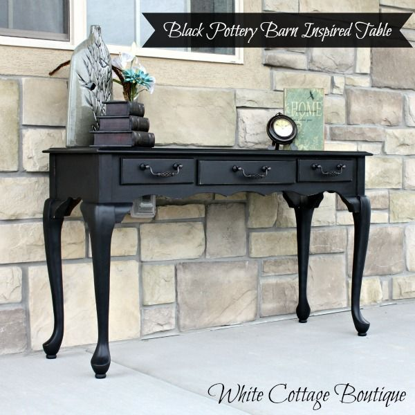 Black Pottery Barn Inspired Sofa Table - White Cottage Boutique