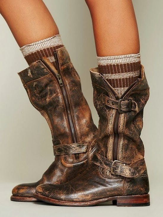 Distressed motorcycle boot