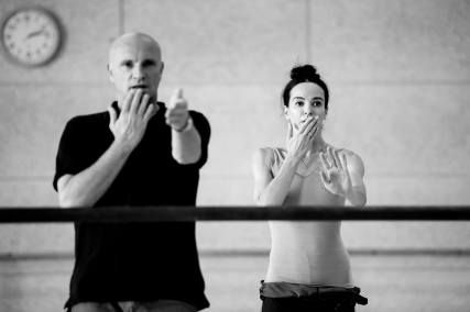"""Diana Vishneva Диана Вишнёва and Jean-Christophe Maillot, rehearsal for """"Switch"""" choreography by Jean-Christophe Maillot, one of three ballet that comprise the first act of """"Le Divertissement du Roi"""", Le Divertissement du Roi Ballet Gala, Grimaldi Forum, Monaco (September 30, 2016)"""