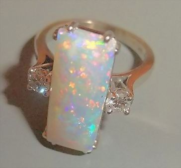 What a STUNNER!!! An Exceptional Opal and Diamond Ring, 14K White Gold - Vintage