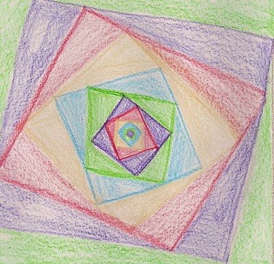 Age 12 ~ Geometric Drawing ~ Turning Nesting Squares ~ main lesson book