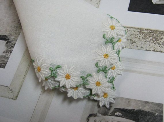Vintage Handkerchief with Daisies