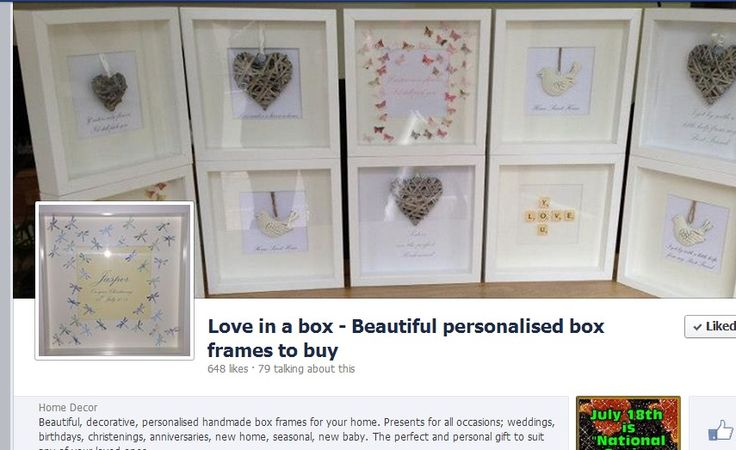 Beautiful, decorative, personalised handmade box frames for your home. Presents for all occasions; weddings, birthdays, christenings, anniversaries, new home, seasonal, new baby. The perfect and personal gift to suit any of your loved ones.