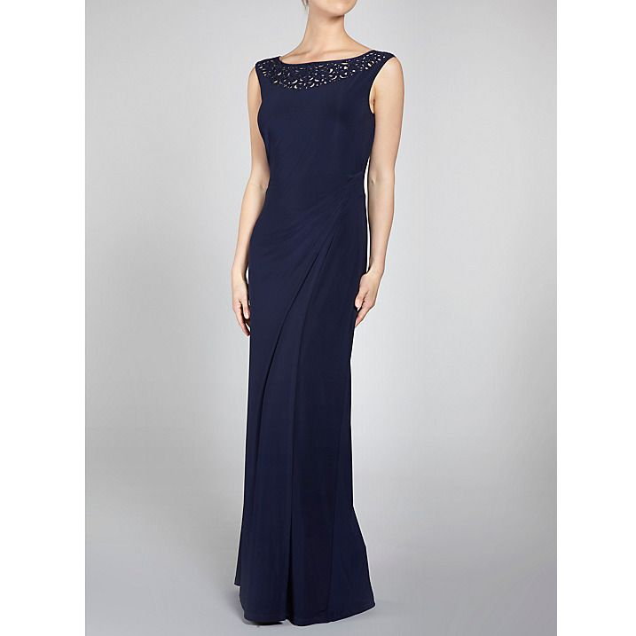 Buy Gina Bacconi Jersey Maxi Dress With Beaded Neck, Navy, 8 Online at johnlewis.com
