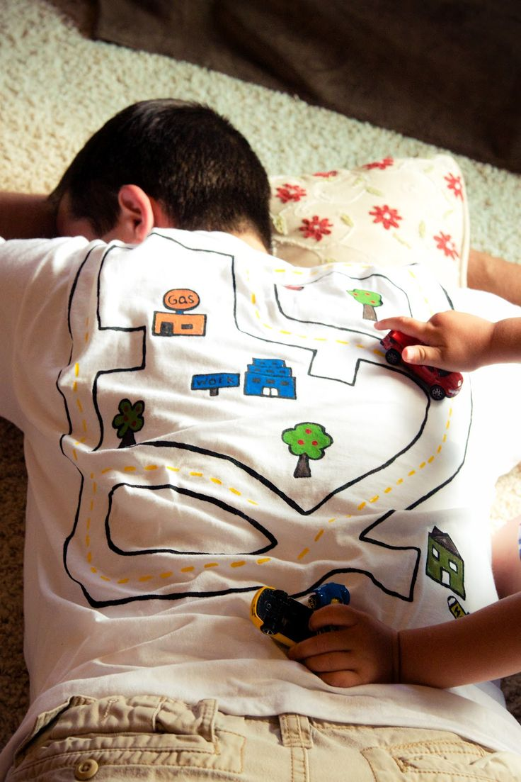 Race track shirt for dad-- he gets a back massage, the kids get to play and interact! the winthrop chronicles: crafts