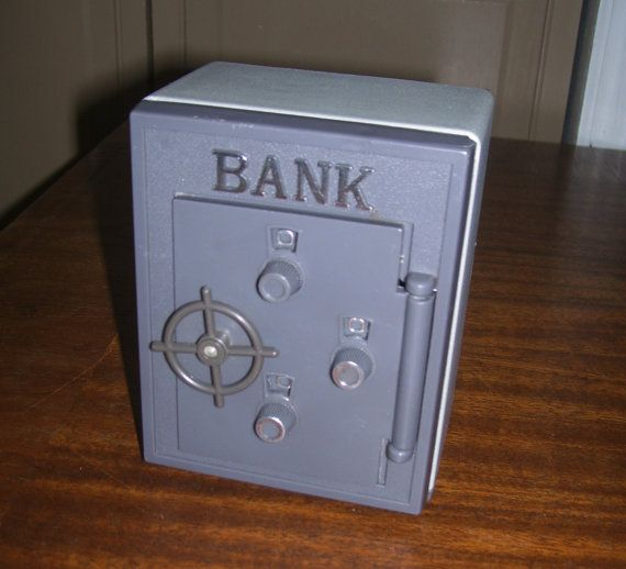 Vintage Toy Bank Safe Vault Coin Bank Plastic by Stuckintime
