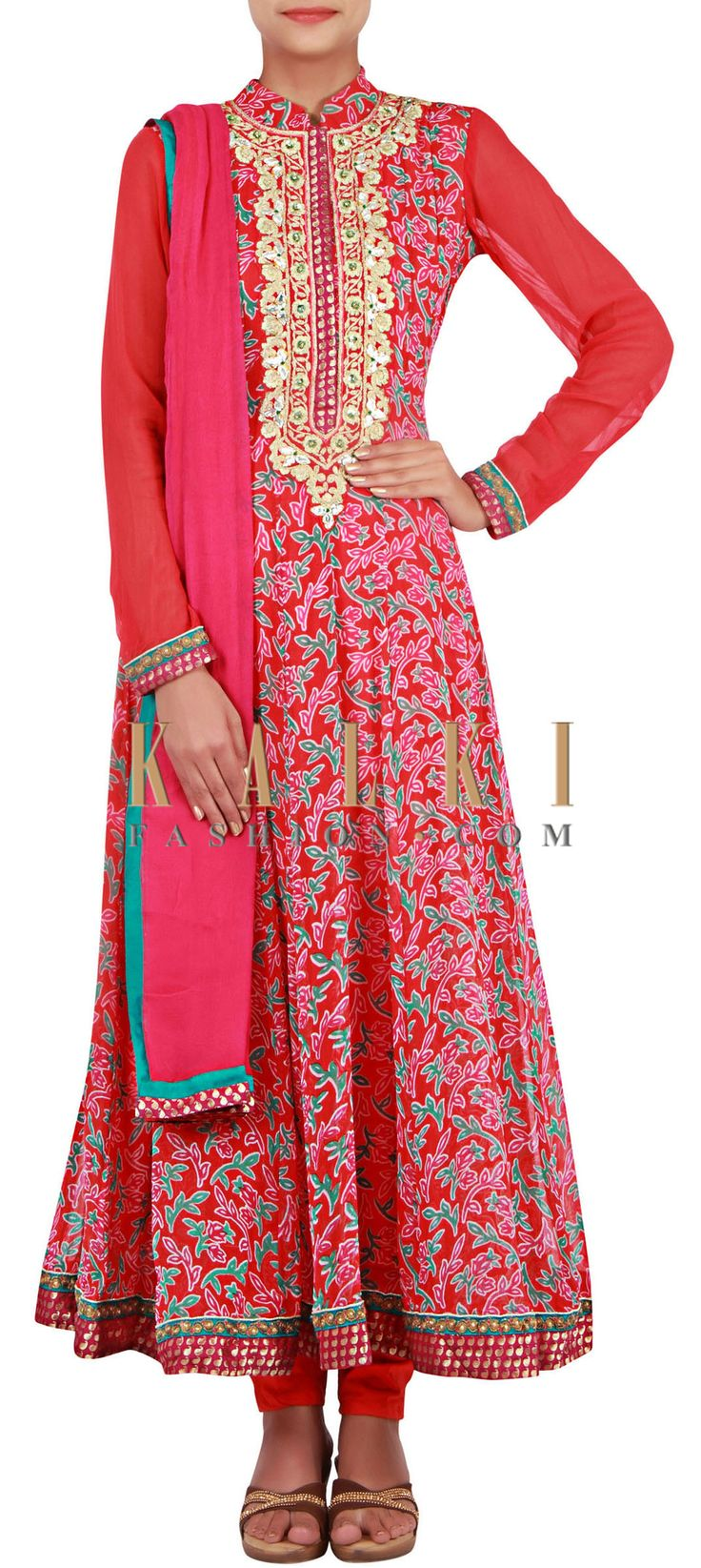 Buy Online from the link below. We ship worldwide (Free Shipping over US$100) http://www.kalkifashion.com/red-printed-anarkali-enhanced-in-zari-embroidery-only-on-kalki.html