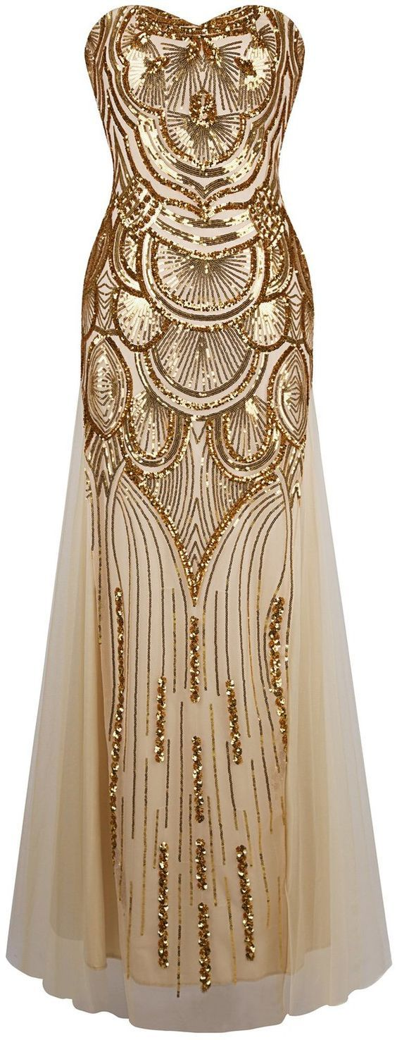 Gold Sequin Great Gatsby 1920's Inspired Strapless Evening Maxi Dress