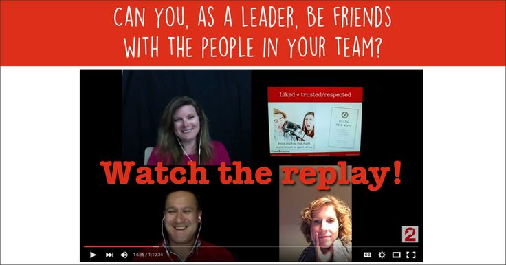 Our webinar on being friends with the people in the team you lead was a blast! We captured the most striking discussion points, the recording and the handout in out latest blog post. In it you will also find our invitation to join our free 30 Day Leadership Challenge. We are looking forward to help you succeed! http://www.power2improve.com/en/leadership/watch-leadership-webinar-on-being-friends/