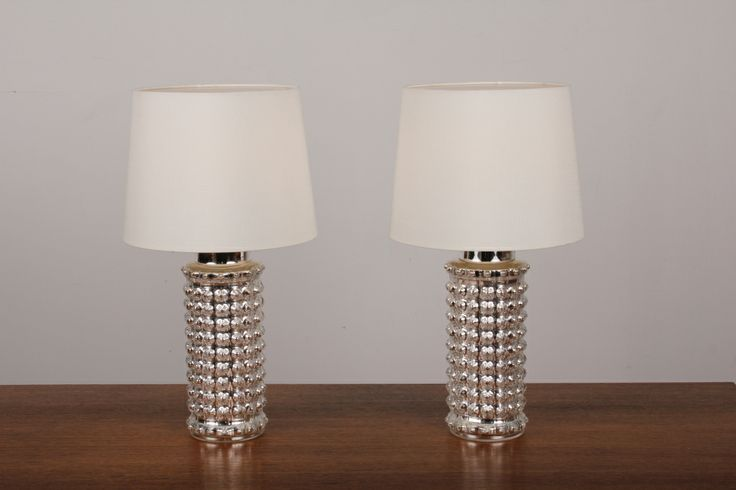 Pair of Danish Modern Mercury Glass Lamps by Helena Tynell for Luxus. image 3