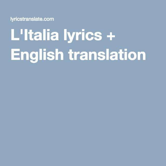 L'Italia lyrics + English translation