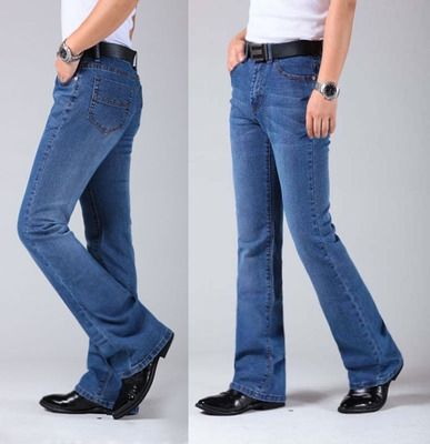 Mens Flared Leg Jeans Trousers High Waist Long Flare Jeans For Men Bootcut Blue Jeans Hommes Plus Size 27-36