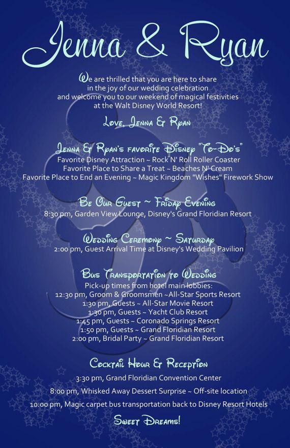 Walt Disney World Wedding Itinerary by 4WeddingWelcomeBags on Etsy