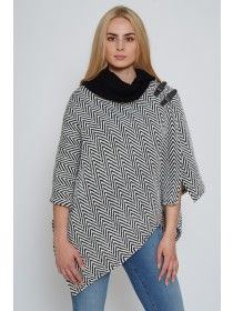Shawl Collar Poncho Herringbone
