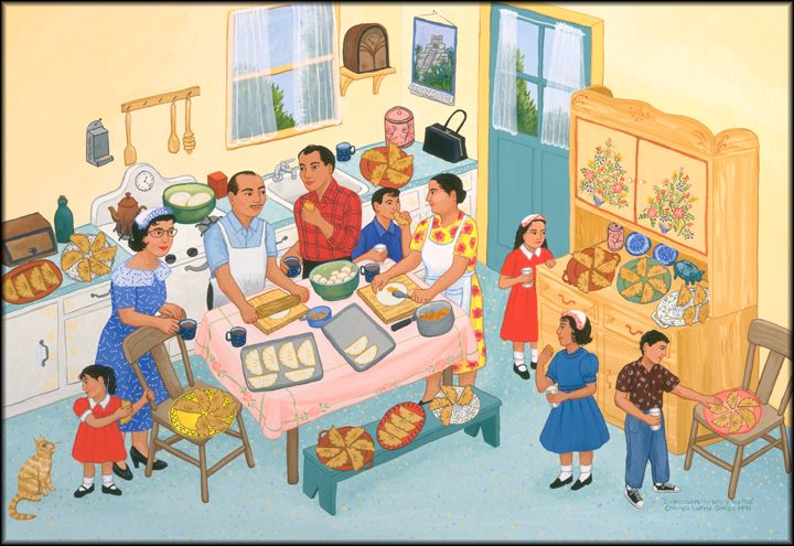 Empanadas by Carmen Lomas Garza. A narrative artist who is Chicana.