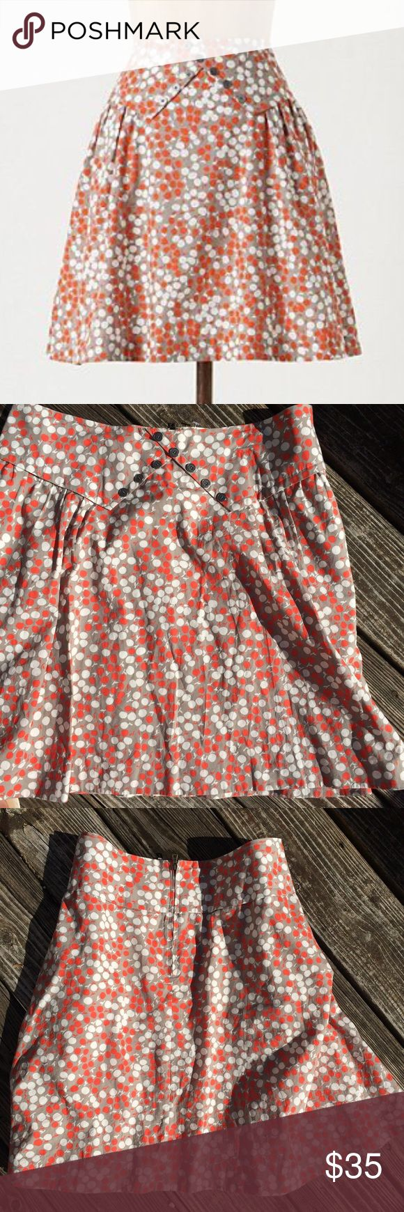 Anthropologie   Girls from Savoy Lapel Skirt Girls from Savoy for Anthropologie - Taupe skirt with coral and white apple print. The top of the skirt has a faux lapel with silver buttons to give the look of a collared Button Down shirt. Excellent condition. Anthropologie Skirts A-Line or Full