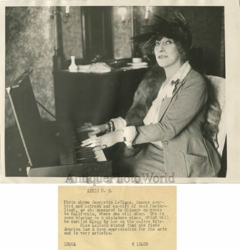 Georgette-Leblanc-French-singer-actress-writer-by-portable-piano-antique-photo: Origin: USA, Size: 6.5 by 8.5 inches, Age: 1923