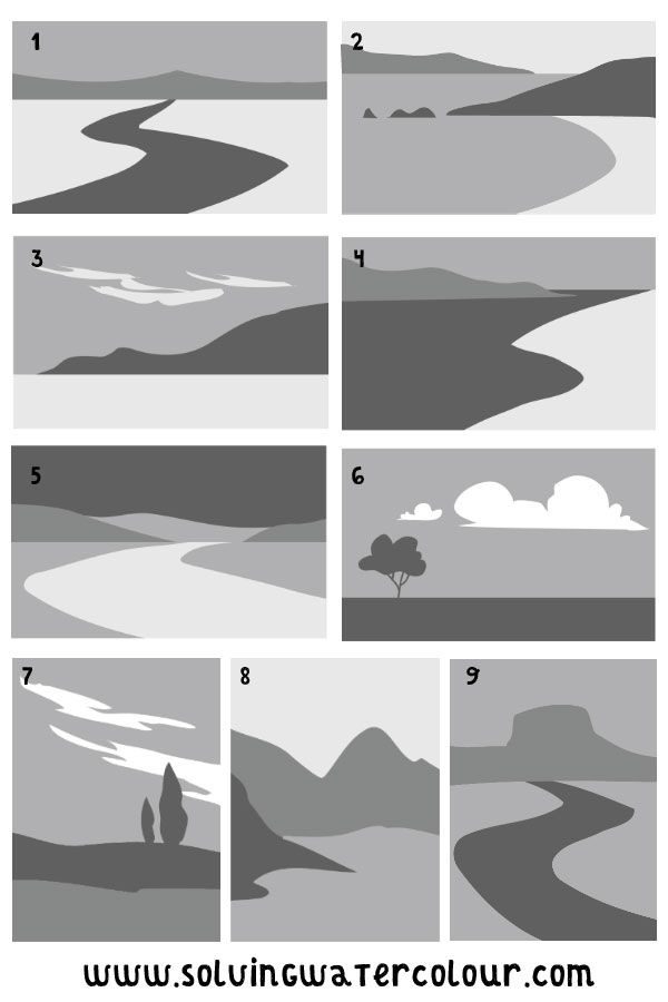 How To Paint A Simple Landscape in Watercolour From a Photograph And Sketches.