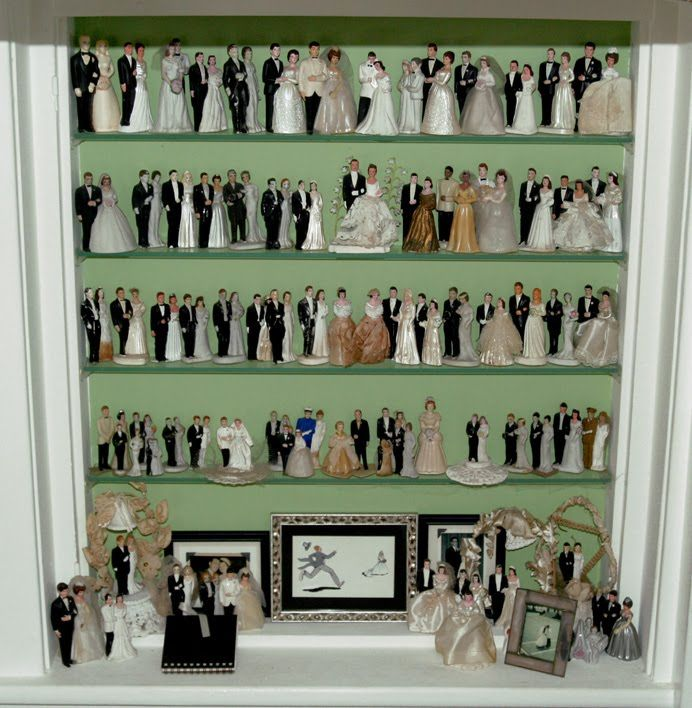 Amazing vintage bride & groom cake topper collection