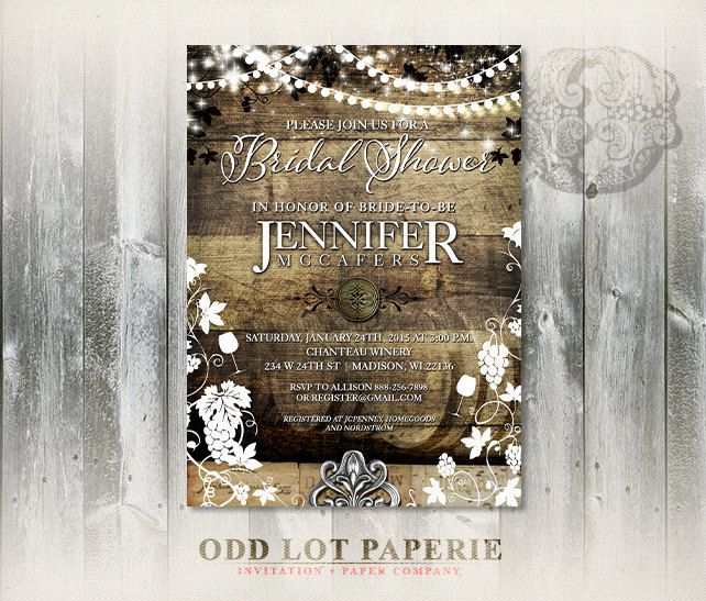 This rustic vineyard wedding shower invitation is designed with the rustic, spring, summer, fall or winter wedding in mind. Features a woodgrain background with grapevines and strings of lights hang overtop. Contemporary fonts and stylings highlight your custom text. Choose a color from