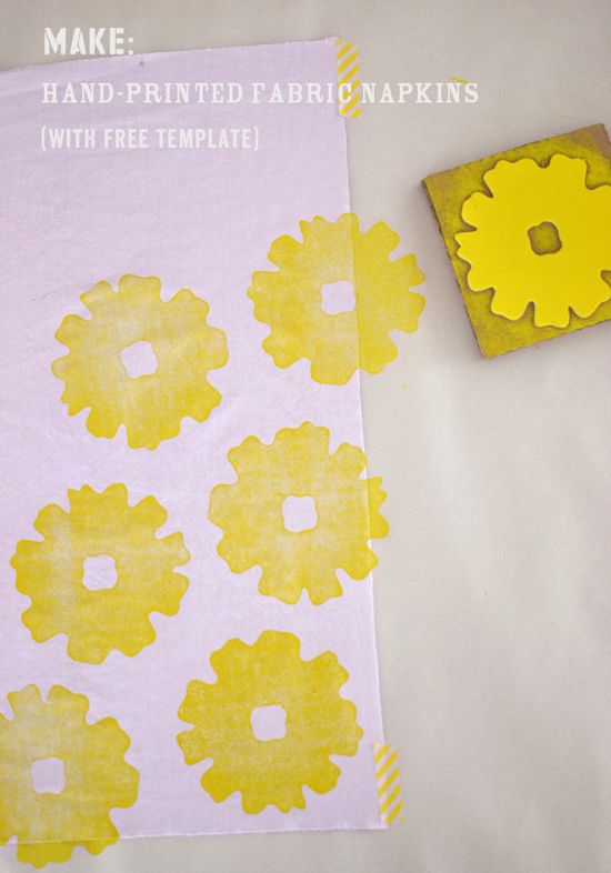 Print your own fabric DIY - textiles - napkins - SmallforBig.com #diy #printing #napkins