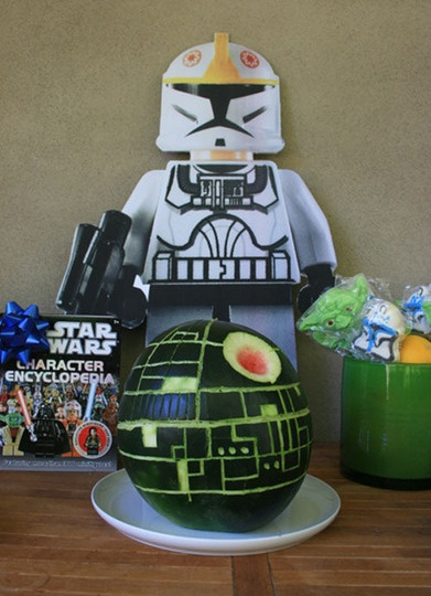 Death Star Watermelon! How fun would it be to drop/explode it at the end of the party?