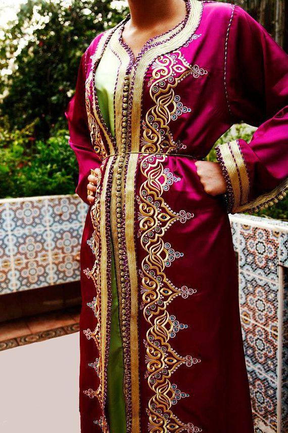 Caftan Marocain Robe Mariage Rose ou vert aux par Sheherazadesign