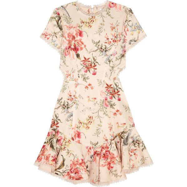 Zimmermann Mercer lace-up floral-print linen and cotton-blend mini... found on Polyvore featuring dresses, платья, lace up dress, short mini dress, flower print dress, short pink dress and pink ruffle dress