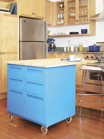 This is a fantastic and easy idea for more counter space and storage in a kitchen. Idea is from Apartment Therapy