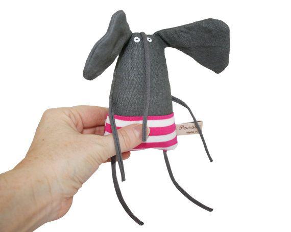 Tiny Stuffed Elephant Miniature Elephant Doll Small Grey by poosac