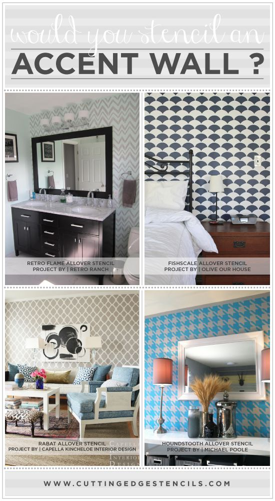 Stenciled accent wall ideas from Cutting Edge Stencils! http://www.cuttingedgestencils.com/wall-stencils-stencil-designs.html