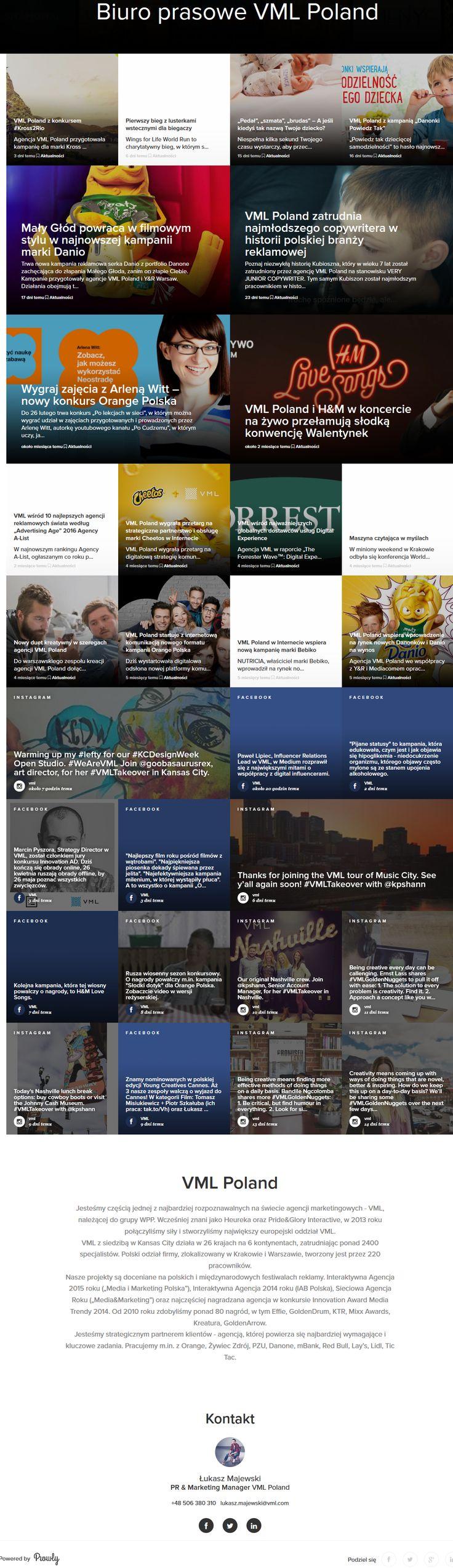 Przykład modułu prasowego dla agencji reklamowej. Publikacja artykułów dotyczących ostatnich realizacji i działań podejmowanych przez pracowników wzbogaconych ruchomymi grafikami. Możliwość udostępnienia artykułów w social media.