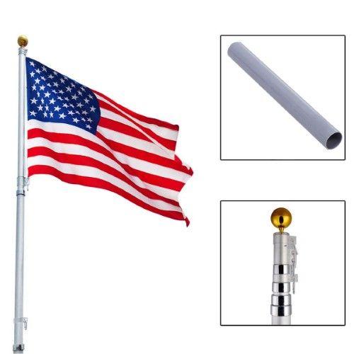 20ft Aluminum Telescoping Flagpole w/ 1 US America Flag Kit Outdoor Gold Ball | Jet.com